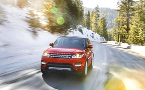 hotspot, Land Rover, Front, machine, road, in motion, red