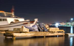 ситуация, камень, сон, гавань, лодки
