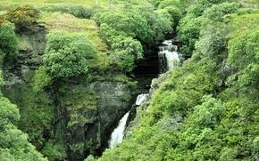 erba, Rocce, cespuglio, Scozia, cascata, FLOW, acqua, Isola di Skye