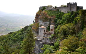 rock, Erice, castle, valley, Mountains, trees, sky, Sicily, Italy