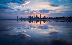 отражение.облака, город