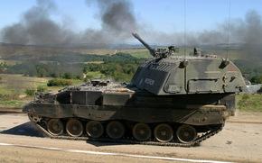 obice, corazzato, semovente, installazione, Artiglieria, fuoco