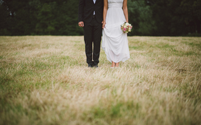 groom, field, dress, grass, suit, bride