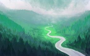 Arte, río, bosque, Hills, Árboles de Navidad, paisaje pintado