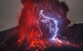 element, volcano, smoke, lightning, lava, storm, fire, ash