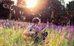 музыка, лето, парень, гитара