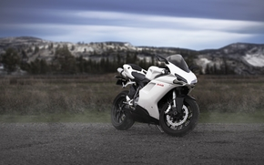 white, Mountains, clouds, sky, Ducati, motorcycle, motorcycles