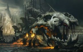 fuoco, fiaccola, Monaci, SCHELETRO, fantasia, pesce gigante, cranio