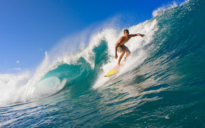 foam, surfing, wave, man