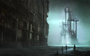 установка, люди, фантастика, сооружиение, завод, трубы, металл, арт