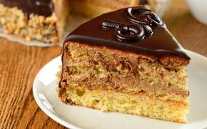 piece, morsel, glaze, cake, chocolate, saucer