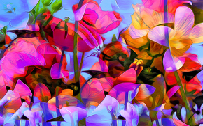 Rendering, Pétalos, dibujo, pinturas, planta, Flores, vector, naturaleza