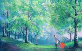 árboles, paraguas, chica, Arte, parque, lluvia, abrigo