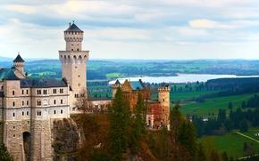 Neuschwanstein Castle, Bavaria, Germany, Замок Нойшванштайн, Бавария, Германия, скала, лес, замок, пейзаж