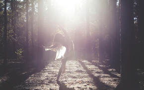 Rays, girl, forest, dance