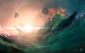 Planet, fuoco, spazio, meteoriti