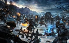 nevicata, combattimento, Undead, fuoco, arma, fiaccola, magia, Art