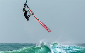 волны, прыжок, виндсёрфинг, полёт
