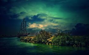 prima della tempesta, puntellare, pietre, pesce vela