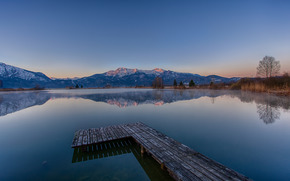 DAWN, Mountains, lake, morning