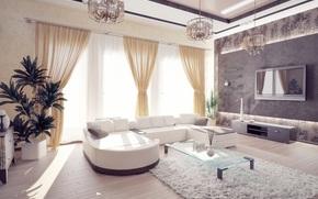 sofá, habitación, ventanas, interior, diseño