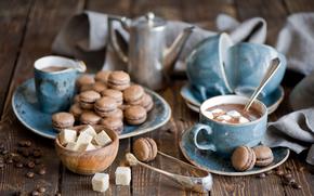 hervidor, naturaleza muerta, malvavisco, Tazas, pasta, granos de café, chocolate caliente