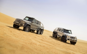SUVs, sand, Two, Gray, Mercedes, white