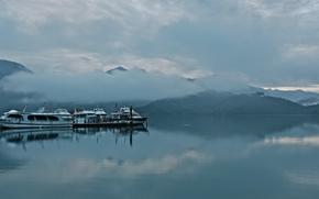 brouillard, Bay, Bateau, Montagnes, nuages