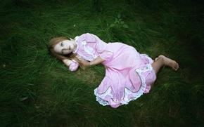 chica, hierba, vestir, soledad, dolor
