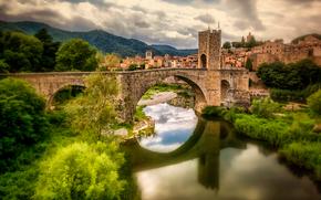 桥, 贝萨卢, 河Fluvia, 西班牙, 反射, 加泰罗尼亚
