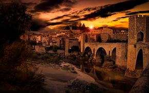puente, Besalú, río Fluvia, España, reflexión, Cataluña, puesta del sol