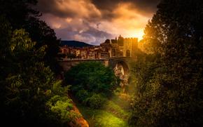 мост, Бесалу, река Флувия, Испания, Каталония