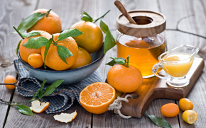 citrus, peel, honey, crockery, orange, tangerines, juice, fruit, kumquat, foliage, still life, winter