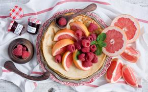 фрукт, блины, баночки, цитрус, джем, малина, мята, грейпфрут, блинчики, варенье, еда, ягоды