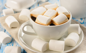 marshmallows, mug, sweet, cup, coffee