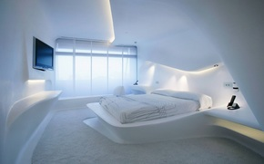 bed, interior, room, TV