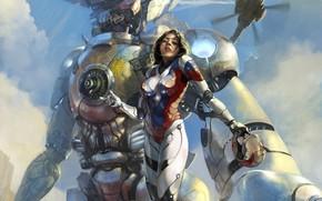 helmet, giant, suit, sky, girl, helicopter, robot, Art