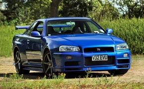 linea dell'orizzonte, Nissan, sfondo, Frontale, blu, Nissan