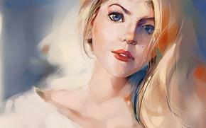 blauäugig, Kunst, ansehen, bemalte Mädchen, blonde