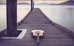 guitarra, puente, Música
