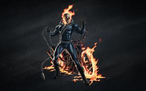 motorcycle, chain, fire, SKELETON, bike, Ghost Rider, skull, black background