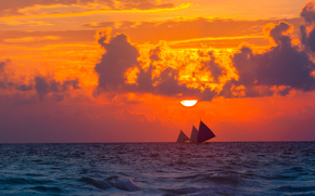 CLOUDS, clouds, sailfish, sky, nature, mood, sunset, sun, sea, evening, sailboats
