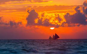 тучи, облака, парусник, небо, природа, настроение, закат, солнце, море, вечер, парусники