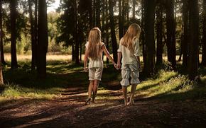 cabelo, verduras, tour, floresta, grama, casal, TRAIL, estrada, meninas