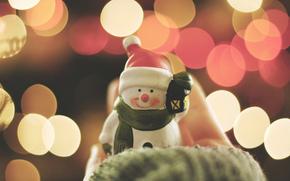 новый год, снеговик, улыбка, боке, улыбается, огни, колпак