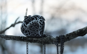 decoration, heart, pendant, branch