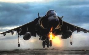 Крылья, Истребитель, Взлет, Самолет, Авиация, Вечер, Бомбардировщик, ВВС, Харриер