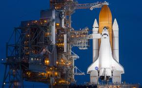 navetta, luci, Spaceport, trampolino di lancio, Atlantis