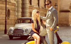 авто, улица, девушка, парень