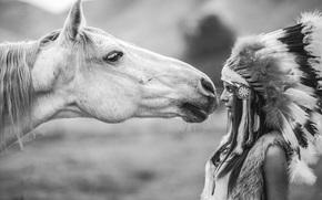 перья, черно-белое, головной убор, конь, девушка, лошадь